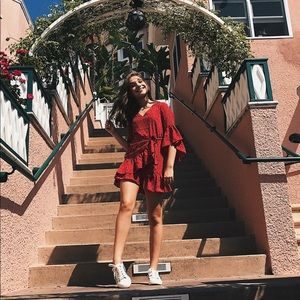Lulu's polka dot ruffle wrap dress
